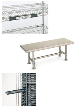 Cleanroom equipment including shelving, work surface, and rack system